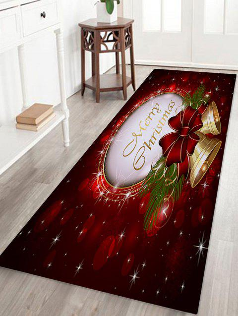 Christmas Bells Printed Coral Fleece Nonslip Bath Rug - DARK RED W24 INCH * L71 INCH