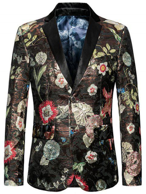 Blazer Motif Floral avec Simple Poitrine à Col Revers - multicolore 6XL