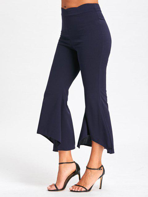 High Waisted Bell Bottom Pants - CADETBLUE M