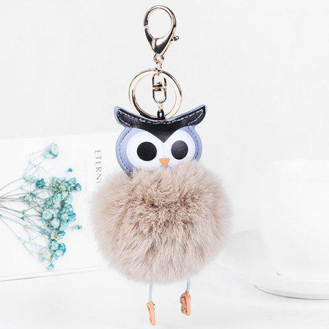 PU Leather Fur Owl Ball Keychain - LIGHT COFFEE