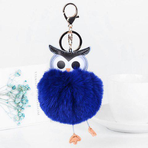 PU Leather Fur Owl Ball Keychain - ROYAL