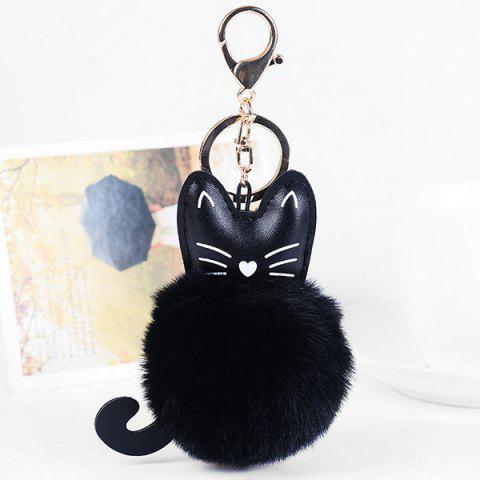 Faux Leather Cute Kitten Fuzzy Ball Keychain - BLACK