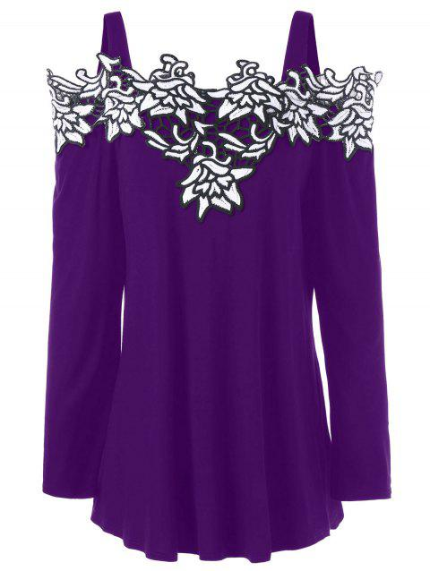 Plus Size Long Sleeve Embroidered Cold Shoulder T-shirt - PURPLE XL