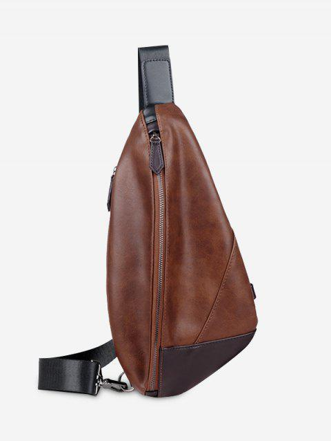 Geometric PU Leather Chest Bag - BROWN
