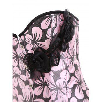 Flower Print Steel Boned Corset - PINK 2XL