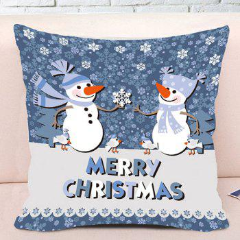 Two Snowmen Printed Decorative Throw Pillowcase - COLORMIX W18 INCH * L18 INCH