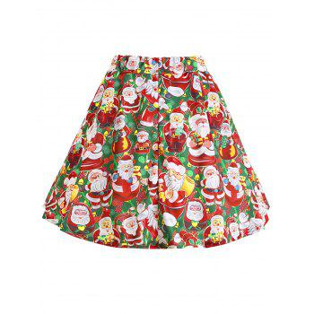 Plus Size Christmas Santa Claus Skirt - RED/GREEN XL
