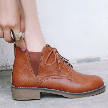 Elastic Band Low Heel Ankle Boots - BROWN 38