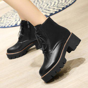Side Zip Chunky Heel Short Boots - BLACK 41