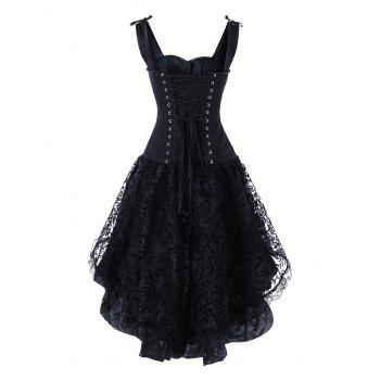 Steel Boned High Low Lace Up Corset Dress - BLACK BLACK