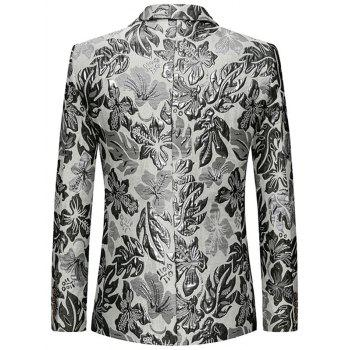 Flap Pockets Single Breasted Lapel Floral Blazer - SILVER L