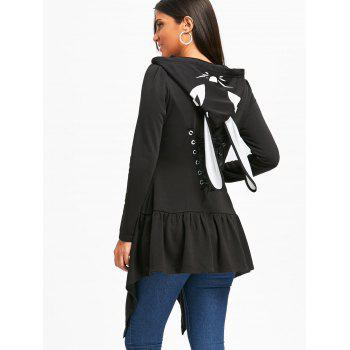 Lace Up Manteau tunique à capuche - Noir 2XL