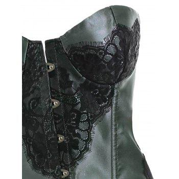 Lace Panel Steel Boned Corset - SAGE GREEN M