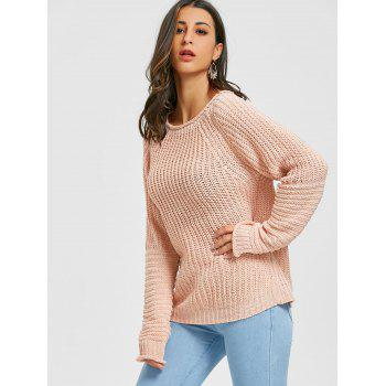 Raglan Sleeve Crew Neck Chunky Sweater - PINK ONE SIZE