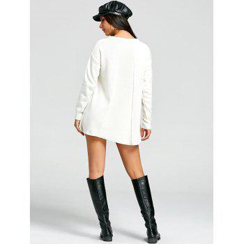 Mini Crew Neck Sweater Dress - WHITE ONE SIZE
