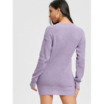 V Neck Chunky Mini Sweater Dress - PURPLE ONE SIZE