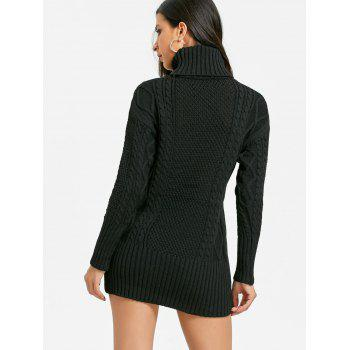 Cut Out Turtleneck Mini Cable Knit Dress - BLACK ONE SIZE