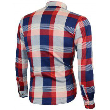 Long Sleeved Chest Pocket Plaid Shirt - RED RED