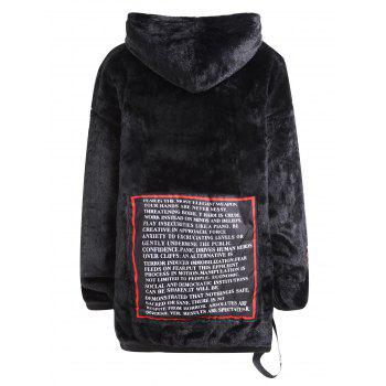 Plus Size Letter Pullover Fuzzy Hoodie - BLACK 5XL