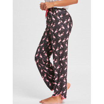 Drawstring Flamingo Print Pants - BLACK BLACK