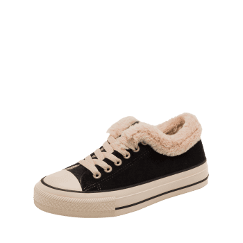 Faux Fur Low Heel Skate Shoes - BLACK 37