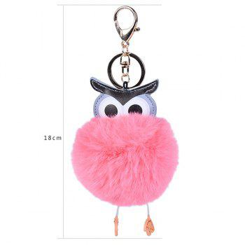 PU Leather Fur Owl Ball Keychain -  WATERMELON RED