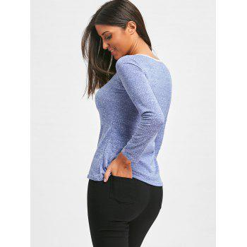 Casual Long Sleeves T-Shirt - BLUE ONE SIZE