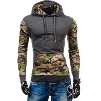 Camouflage Panel Design Fleece Pullover Hoodie - DEEP GRAY XL