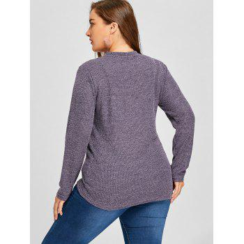 Cut Out Plus Size Sweater - DEEP PURPLE XL