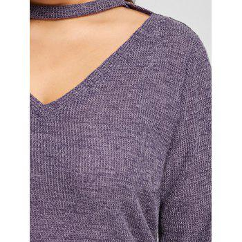Cut Out Plus Size Sweater - DEEP PURPLE 3XL