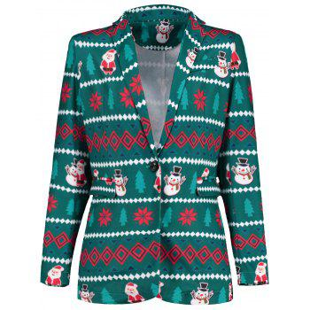 Flap Pockets One Button Christmas Blazer