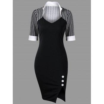 Houndstooth Side Slit Tight Dress