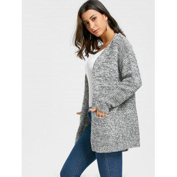 Open Front Pocket Tunic Cardigan - GREY WHITE ONE SIZE