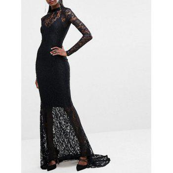 Lace Long Sleeve Open Back Maxi Dress - BLACK S