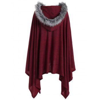 Faux Fur Trim Asymmetric Plus Size Cape Coat - WINE RED XL
