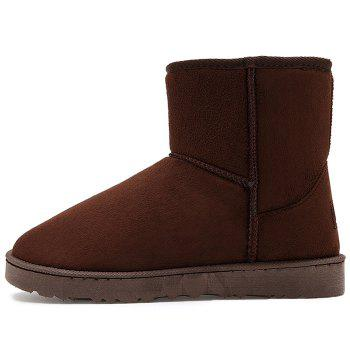 Slip On Badge Suede Snow Boots - BROWN 45