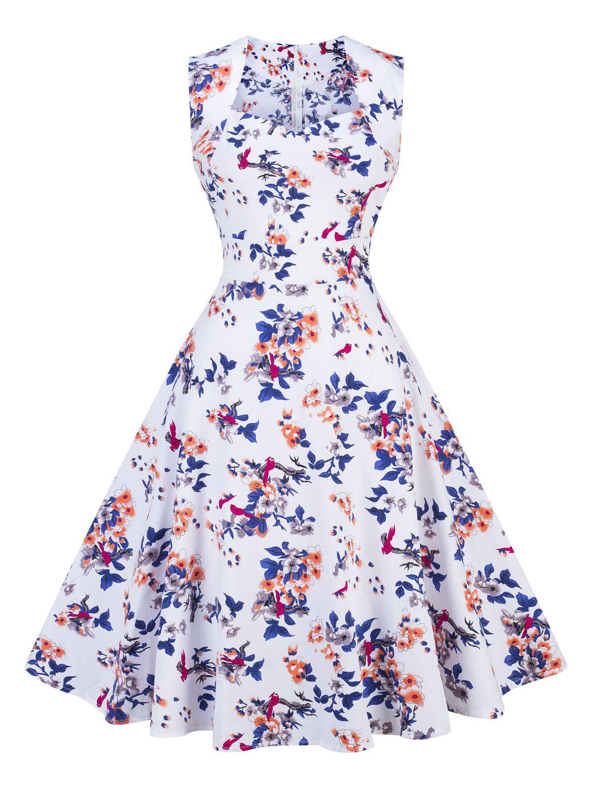 Vintage Floral Swing Fit and Flare Dress - WHITE S