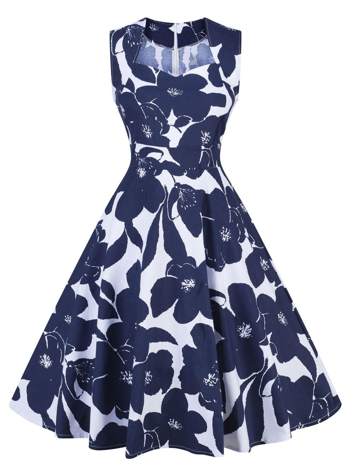 Retro Floral Print Swing Pin Up Dress retro ruched swing pin up dress