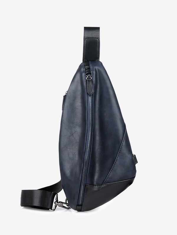 Geometric PU Leather Chest Bag - BLUE