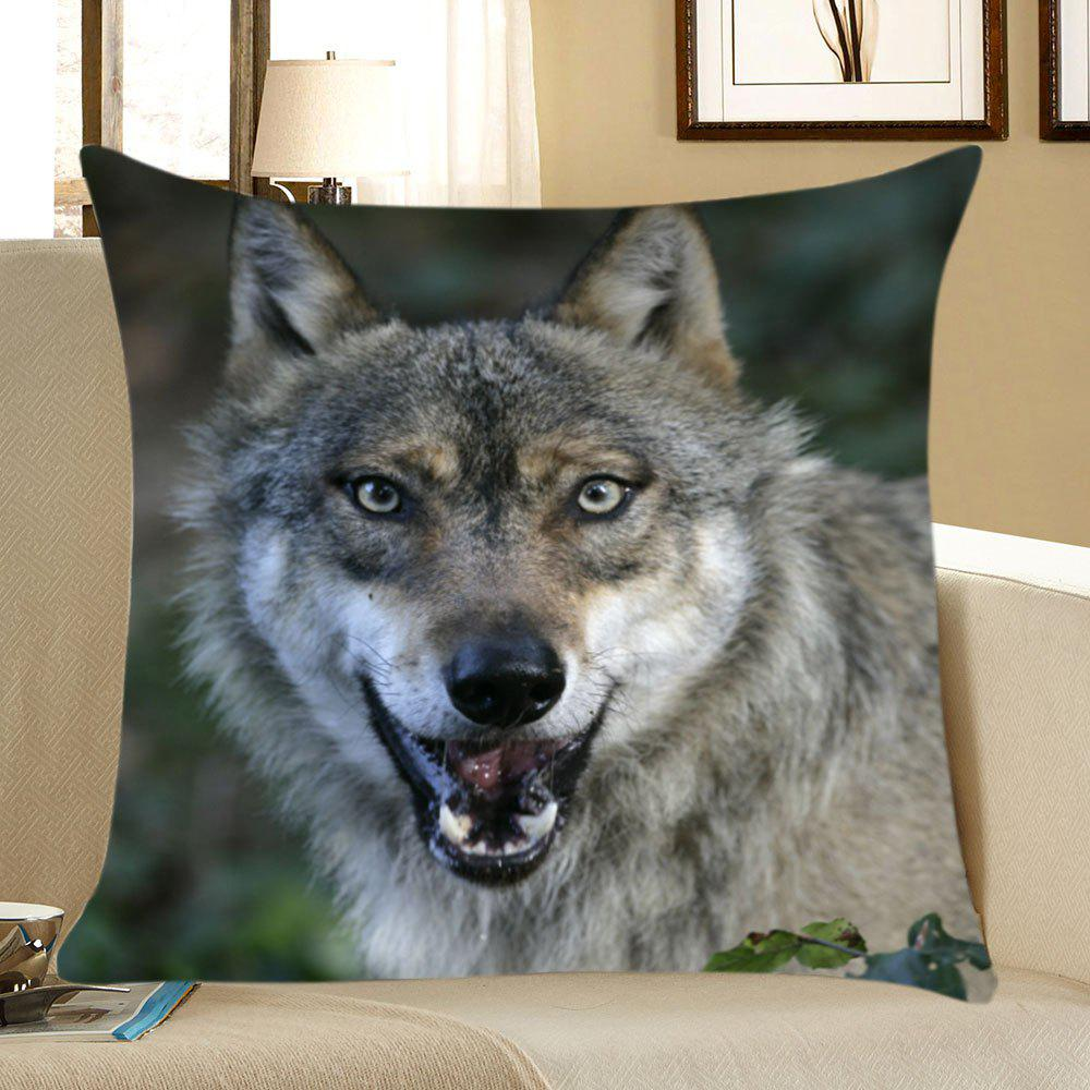 Wolf Head Pattern Square Pillow Case - GRAY W18 INCH * L18 INCH