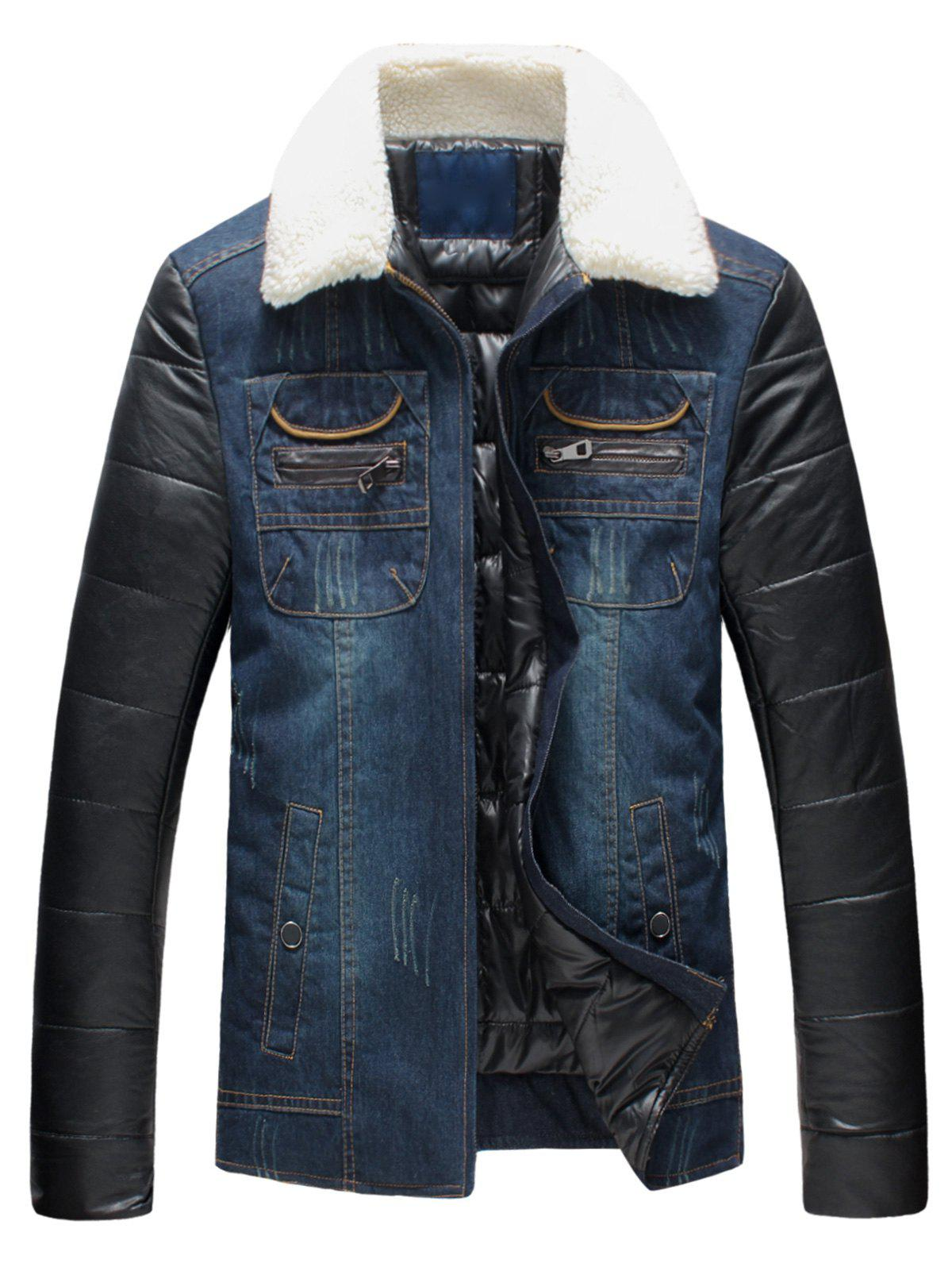 PU Leather Panel Faux Fur Collar Padded Denim Jacket camo insert faux fur trim denim jacket