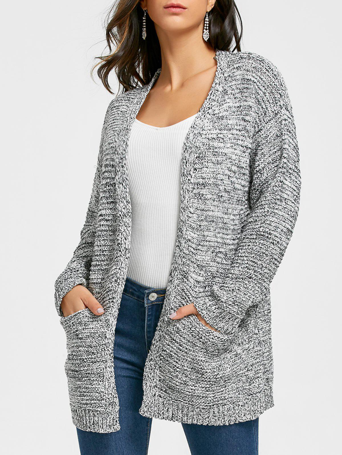 Open Front Pocket Tunic Cardigan modern autumn open front pocket cardigan