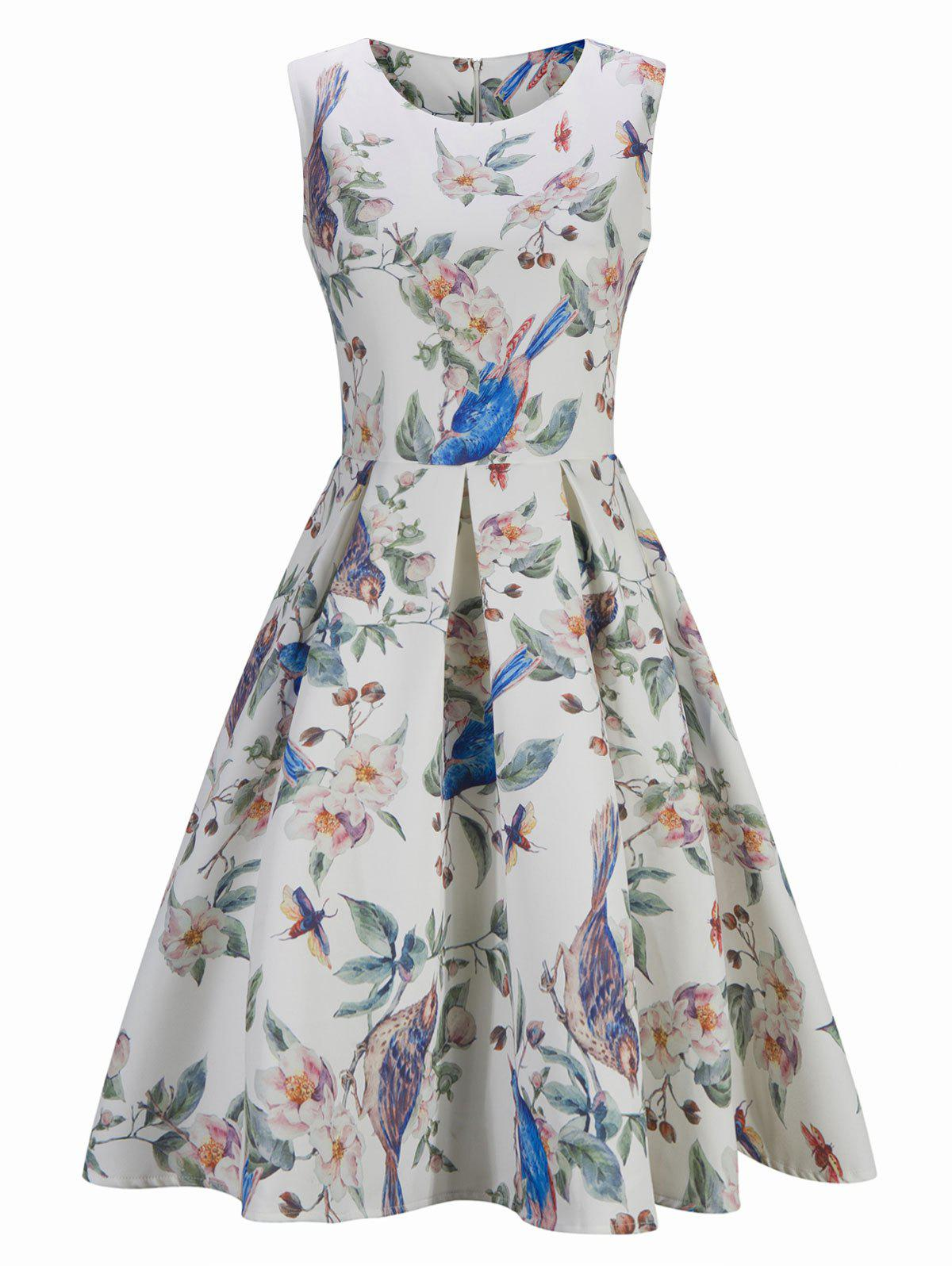 Vintage Floral Bird Print Pin Up Skater Dress - WHITE 2XL