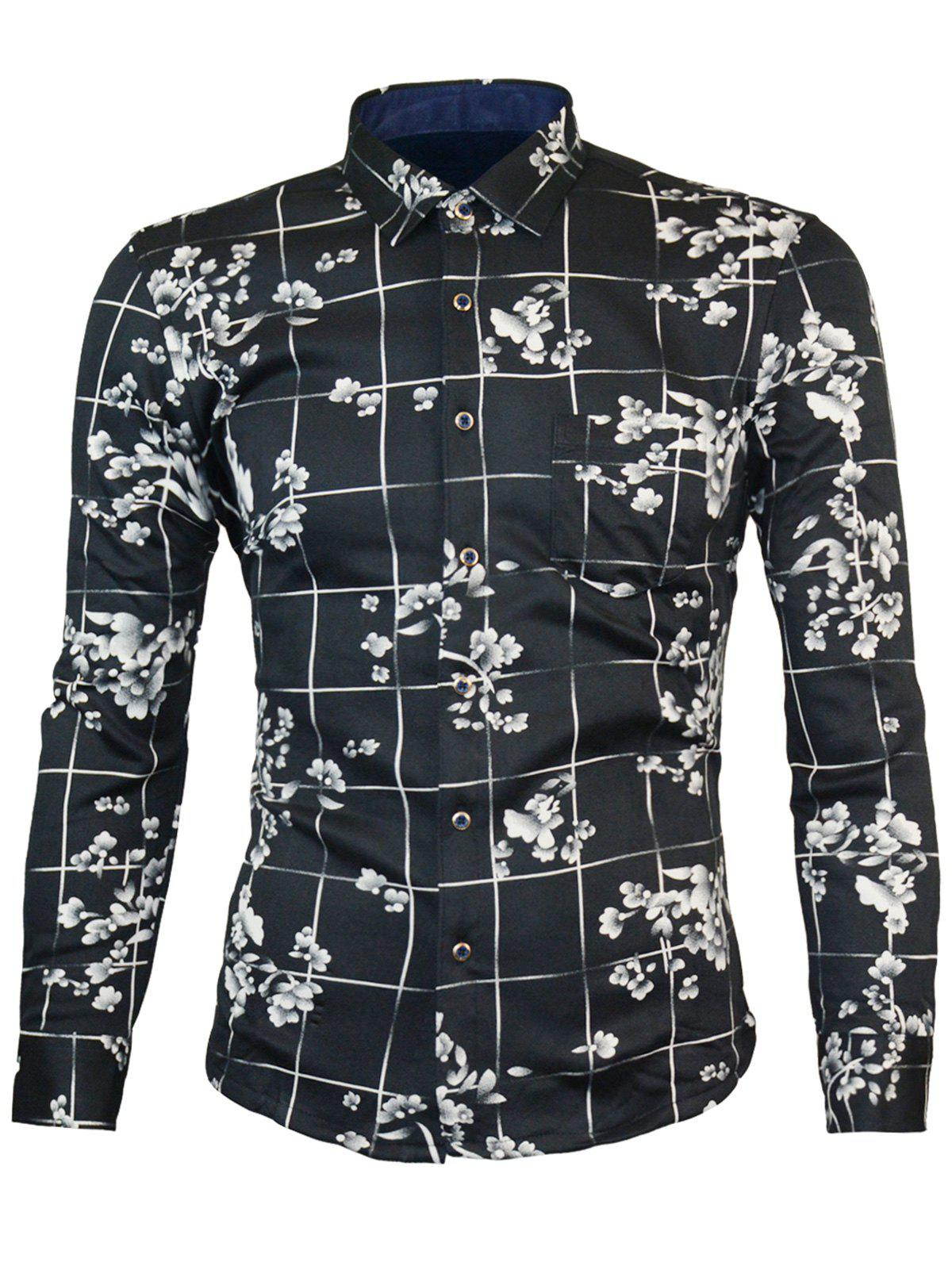 Long Sleeve Fleece Lining Warm Flower Shirt - BLACK XL