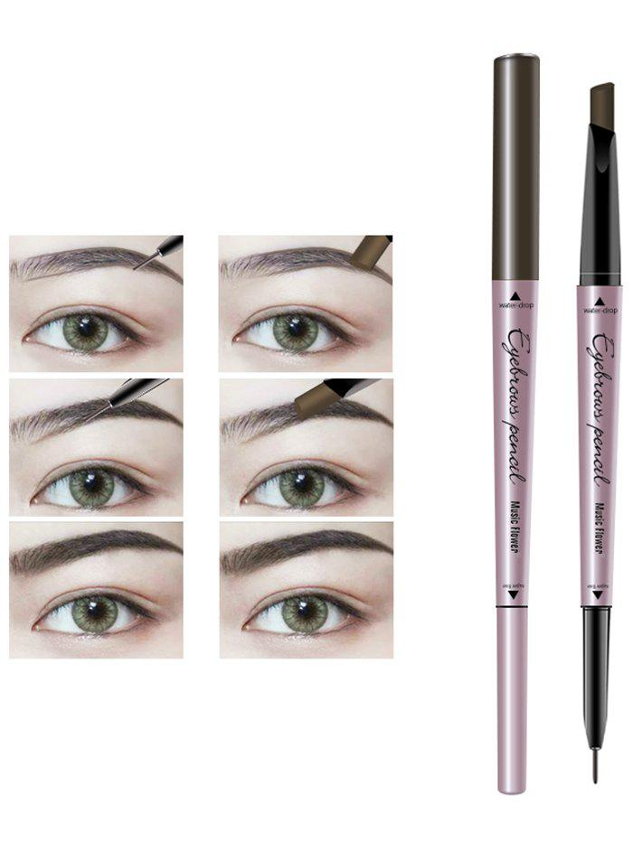 24 Hours Waterproof Automatic Double Headed Eyebrow Pencil - BLACK