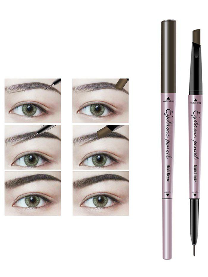24 Hours Waterproof Automatic Double Headed Eyebrow Pencil - LIGHT COFFEE