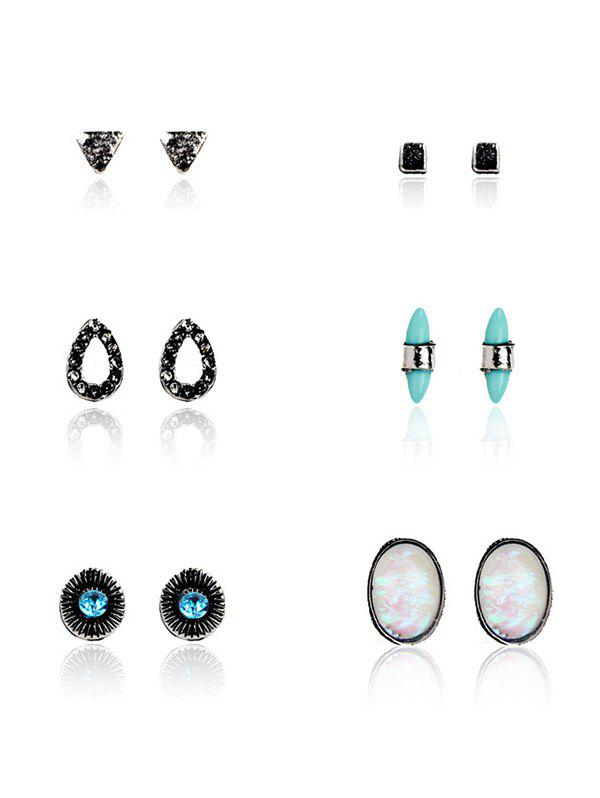 Bohemian Faux Gem Turquoise Stud Earring Set heart dreamcatcher moon stud earring set