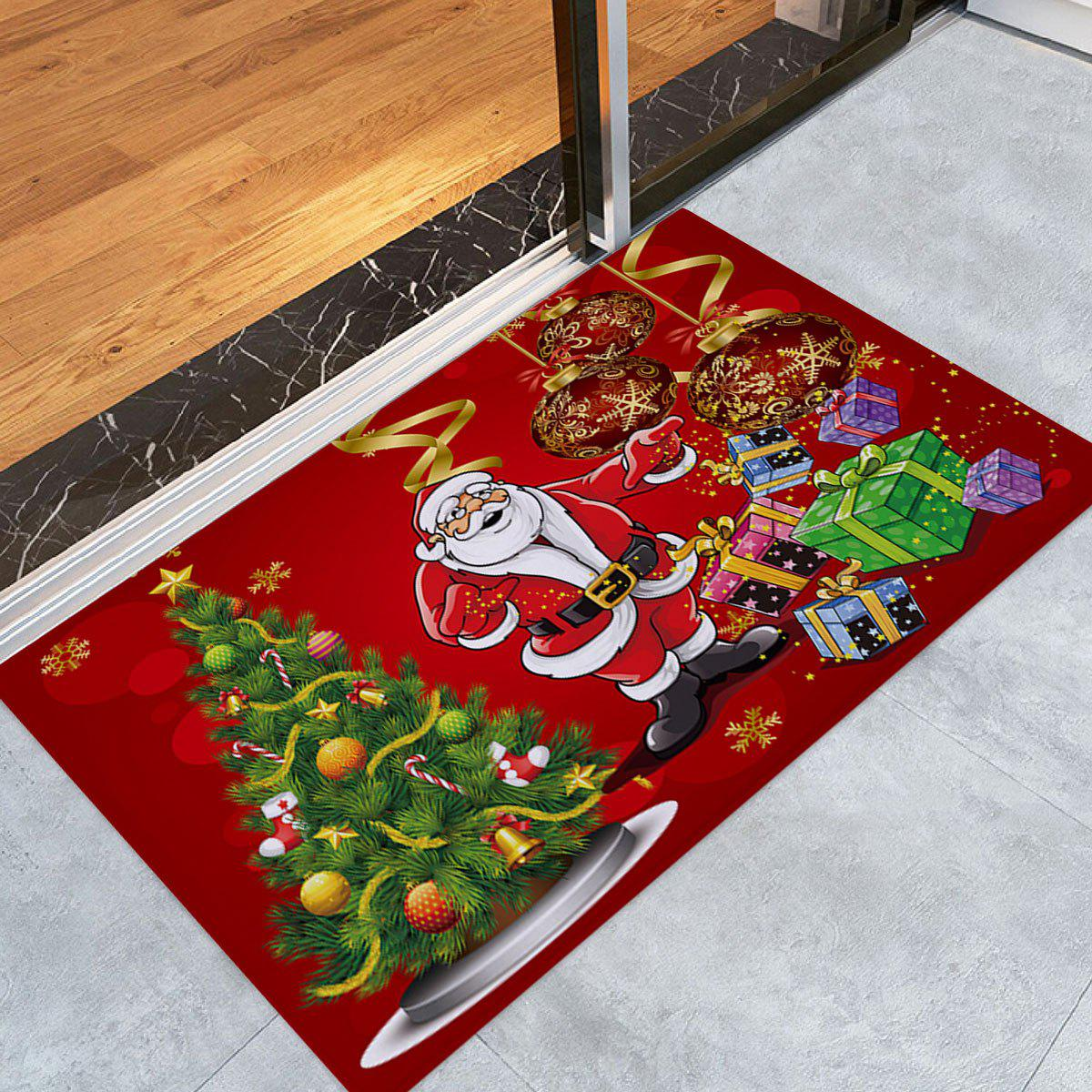 Christmas Tree Santa Baubles Pattern Indoor Outdoor Area Rug - COLORMIX W16 INCH * L24 INCH