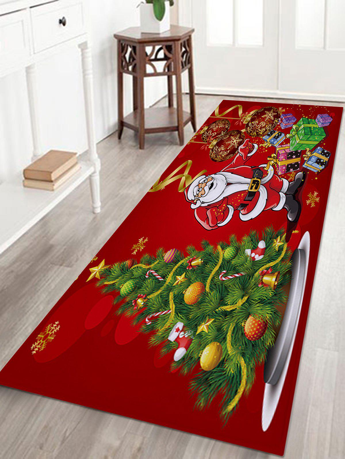 Christmas Tree Santa Baubles Pattern Indoor Outdoor Area Rug - COLORMIX W16 INCH * L47 INCH