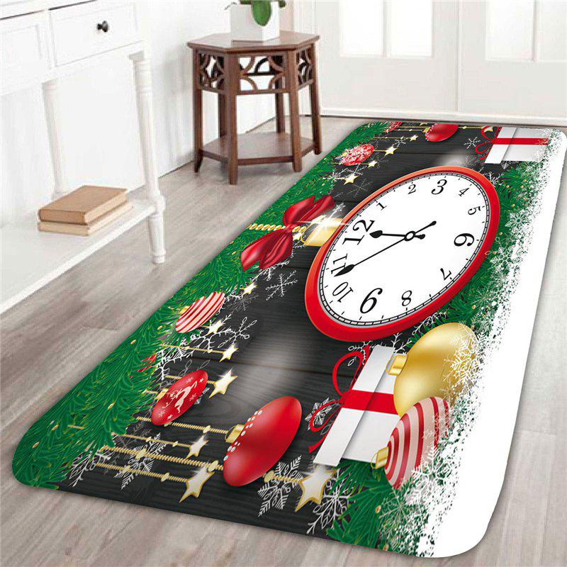 2018 Christmas Ornaments Clock Printed Area Rug GREEN/RED